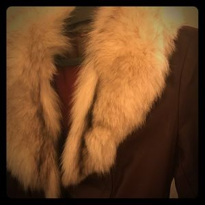 Vintage leather coat with fur collar